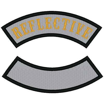CUSTOM EMBROIDERED REFLECTIVE BIKER  ROCKER PATCH 4 INCH