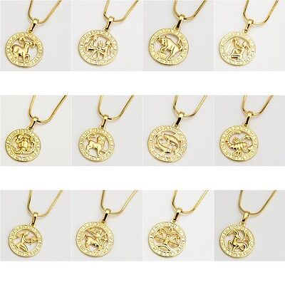 New 18K Yellow Gold Filled 12 Horoscope Pendant Necklace 18  Chain Jewelry Hot