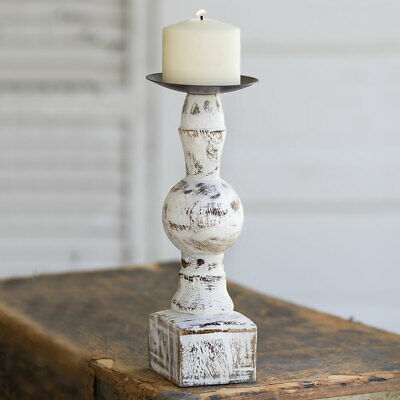 Farmhouse Country WOOD PILLAR CANDLE With SQUARE BASE Holder Rustic Primitive Base Pillar Candle Holder