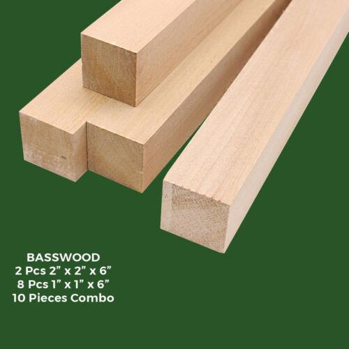 10 Pcs American Basswood Carving/Whittling Wood Blocks, Turning Blanks Combo Kit