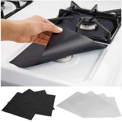 4 Pcs Reusable Gas Range Stove Top Burner Protector Liner Cover Kitchen Cleaning ()