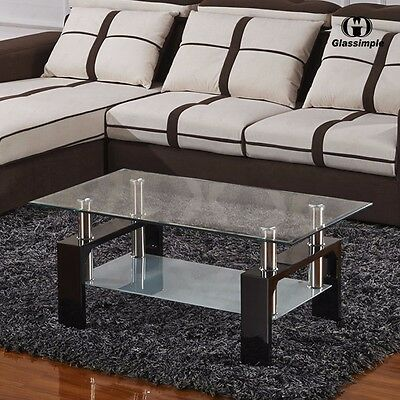 تربيزه جديد Black Rectangular Glass Coffee Table Shelf Wood Chrome Living Room Furniture