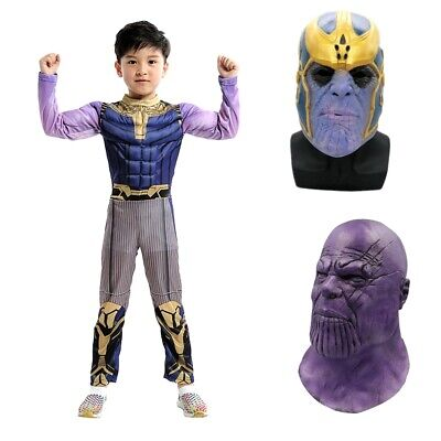 Avengers Endgame Thanos Cosplay Mask Helmet Kids Jumpsuit Costume Prop Halloween](Kids Halloween Toys)