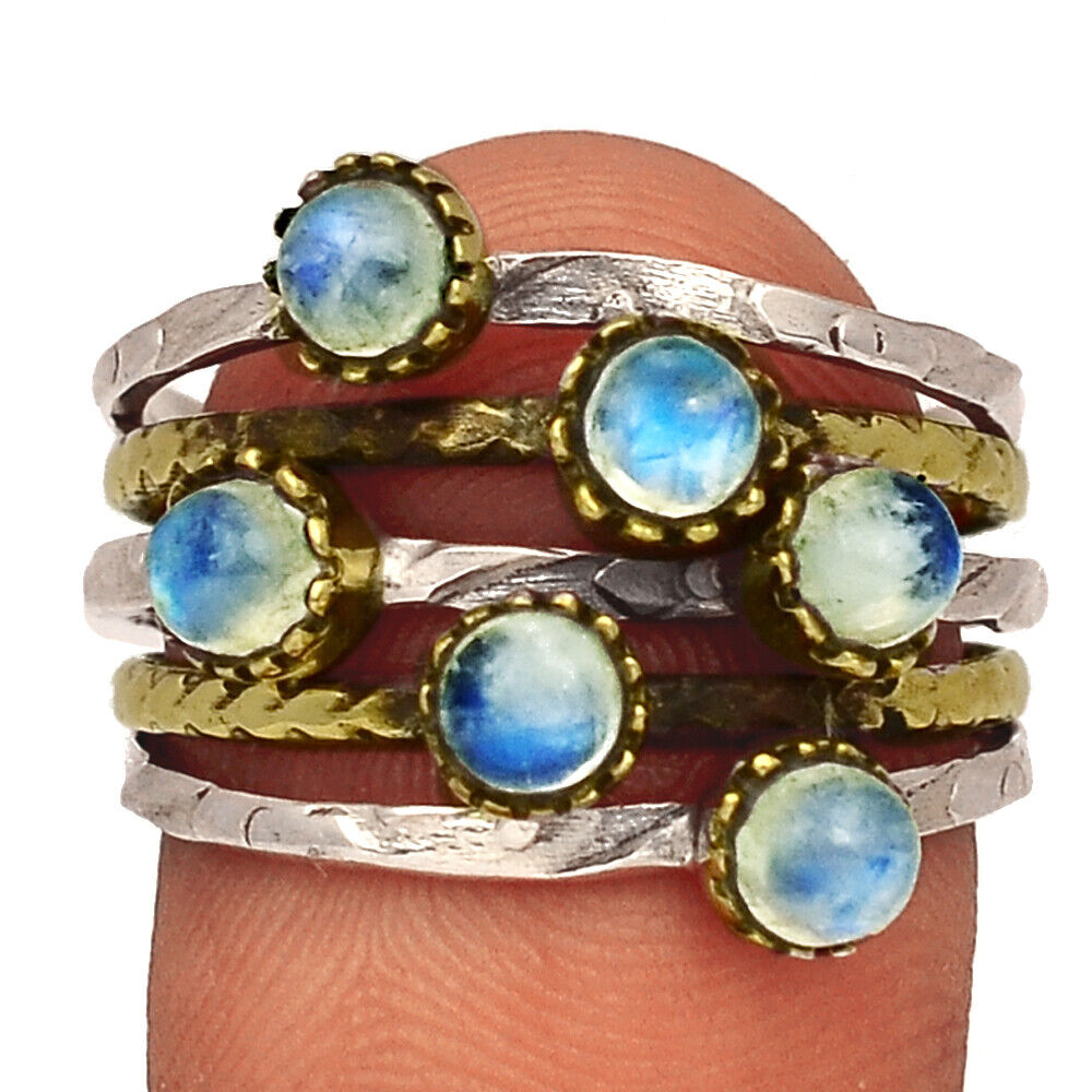 Two Tone - Moonstone - India 925 Sterling Silver Ring Jewelry S.9 BR40408 - $12.99
