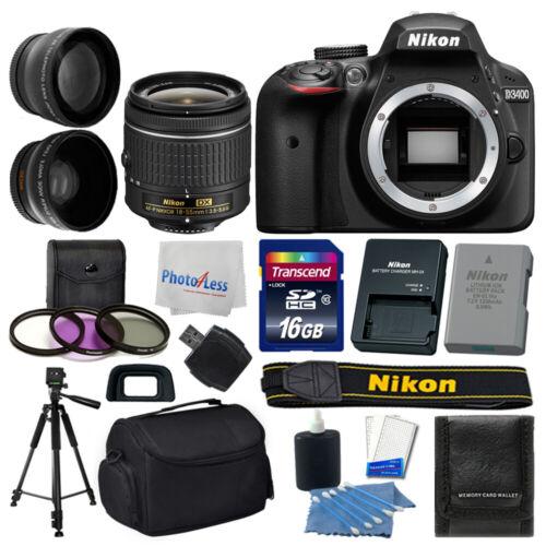 Nikon D3400 Digital SLR Camera +18-55mm VR AF-P Lens +16GB +