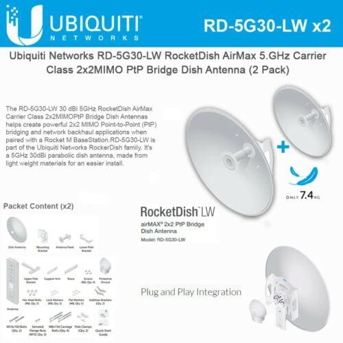 Ubiquiti RD-5G30-LW 5GHz Rocket Dish 30dBi (2-pack)