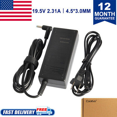 AC Adapter Notebook Charger for HP 19.5V 2.31A Laptop Power Supply Cord Blue tip
