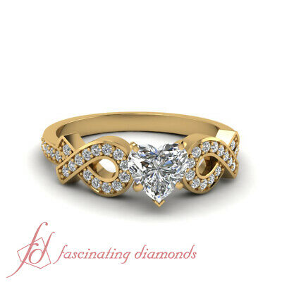 3/4 Ct Womens Yellow Gold Engagement Rings Pave Set With Heart Shape Diamond GIA