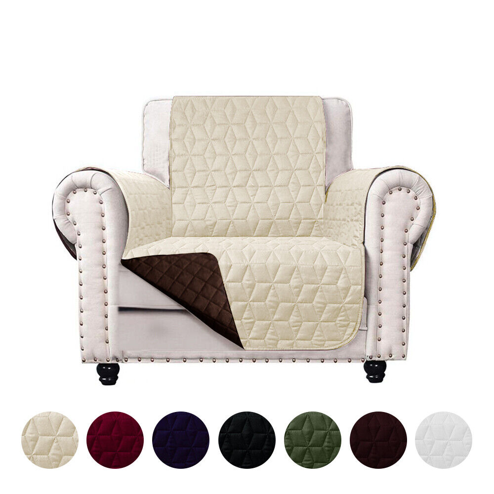 Reversible Quilted Microfiber Slipcover Sofa Couch Furniture