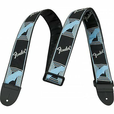 "Fender 2"" Monogrammed Adjustable Guitar Strap with Fender Logo Black/Grey/Blue"