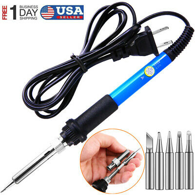 Electric Soldering Iron Gun Adjustable Temperature Welding Set Tool Kit 60w Usa