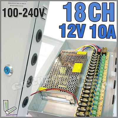 Power-box 18-port (18 Port CH 18CH DVR Power Supply Box DC 12V 10A For Security CCTV Camera LED)