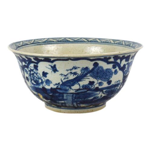 "Blue and White Porcelain Bird Motif Bowl 12.5"" Diameter"