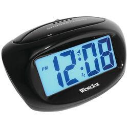 Westclox 70043X Large Easy-to-Read 1 LCD Display Alarm Clock, Black Case