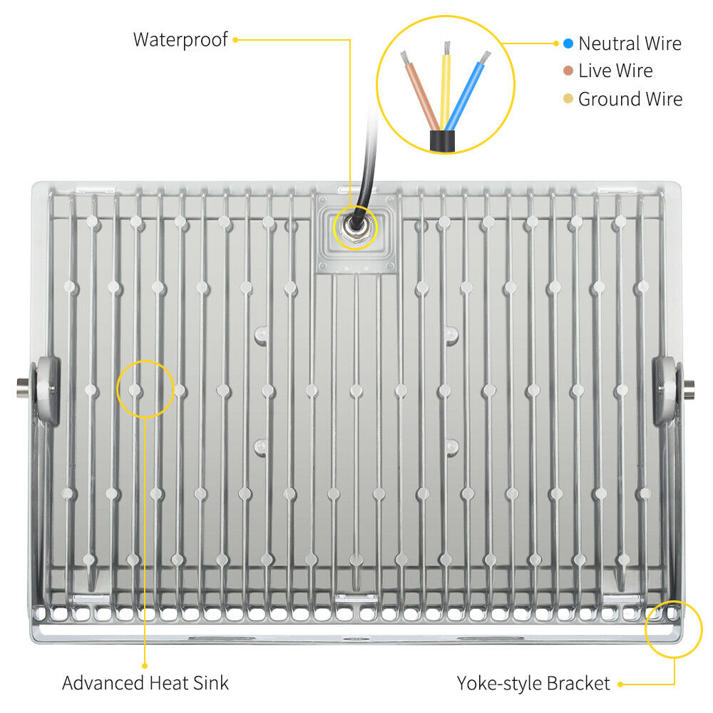 3x 200 Watt Slim High Power Led Flood Light Cool White Indoor Wiring Diagram Outdoor Fixtures