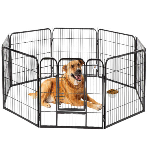 "Pet Playpen 24"" 32"" 40'' 8 Panel Heavy Duty Pet Cat Puppy Ex"