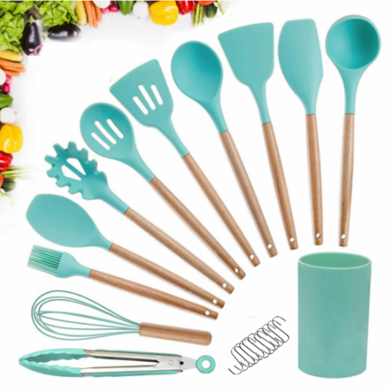Kitchen Utensil Set Heat Silicone Resistant Cooking Tools Sp