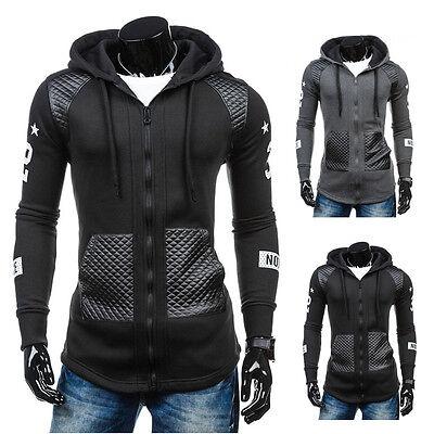 Winter Men Leather Hoodie Warm Hooded Sweatshirt Coat Jacket Outwear Sweater Lot