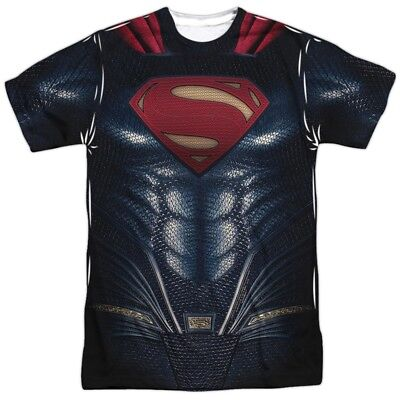 Superman T Shirt Costume (Justice League Movie Superman Uniform Costume Outfit Allover FRONT T-shirt)