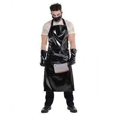 Schlächter Set Halloween Herren Kostüm Lack Schwarz Butcher Horror Mörder Killer