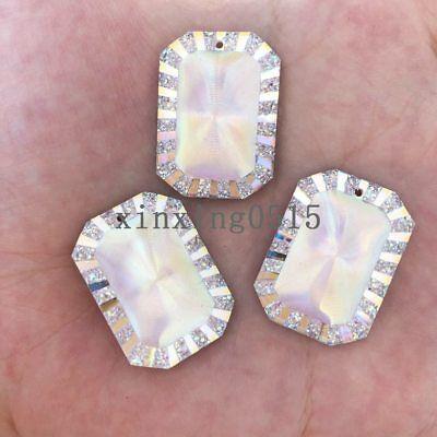 Rectangle Single Hole - 20pcs AB resin rectangle Flatback Rhinestone wedding buttons/Single hole Pendant