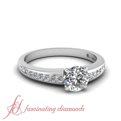 .75 Ct Round Cut F-Color Diamond Linear Shimmer Engagement Ring Channel Set GIA