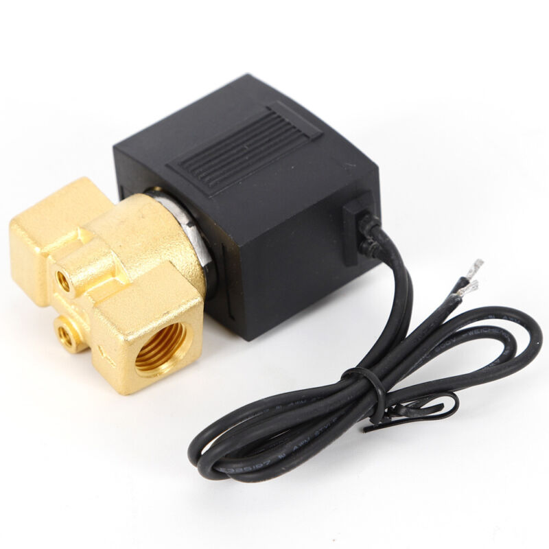 """AC 12V Electric Solenoid Valve 1/4"""" Pneumatic Valve 0-145PSI for Water Air Gas"""