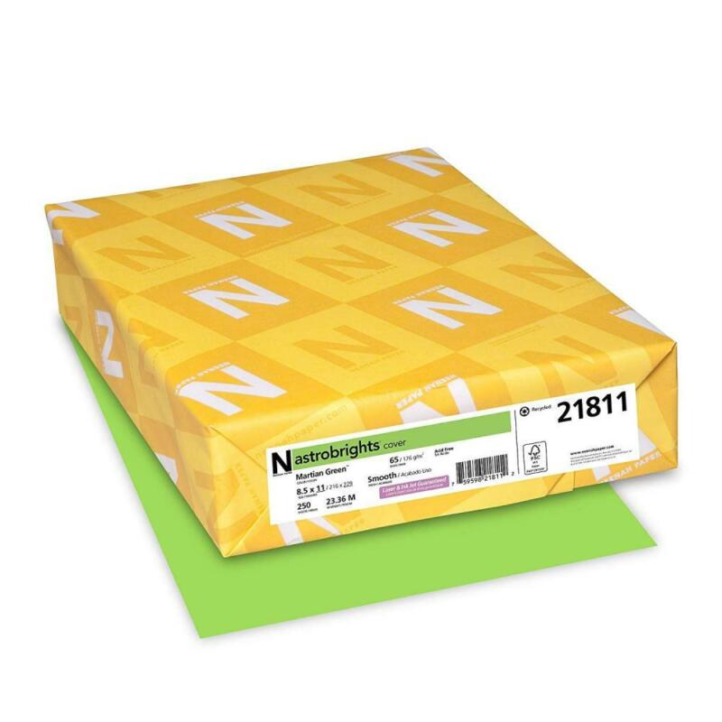"""Astrobrights Colored Cardstock, 8.5"""" x 11"""", 65 65lb Green"""