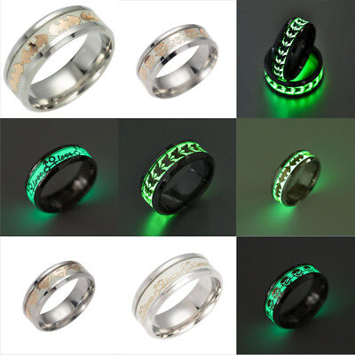 8mm Men Women Ring Jewelry Glow In The Dark Stainless Steel Luminous Band - Glow Bands