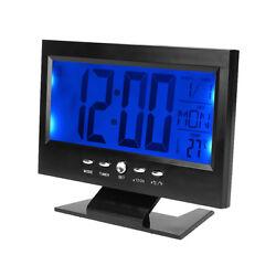 LCD Digital Sound Sensor Table Electric Clock Calendar Temperature Alarm Clocks