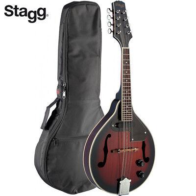 NEW Stagg M50-E Premium A Style Acoustic Electric Mandolin Redburst w/ Gig Bag