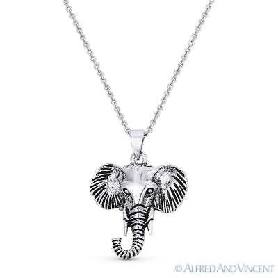 Elephant Head Animal Charm Pendant & Cable Chain Necklace in 925 Sterling Silver Elephant Animal Charm Pendant