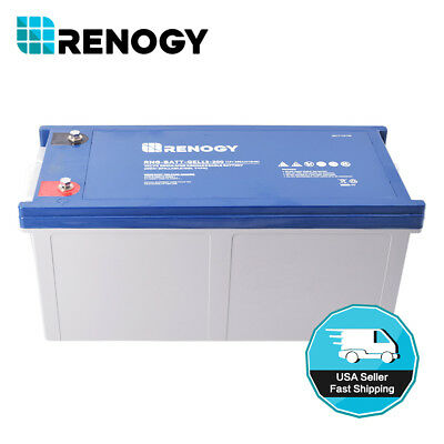 Renogy 12 Volt 200Ah Engrossed Cycle Pure GEL Battery Rechargeable for Solar Panels