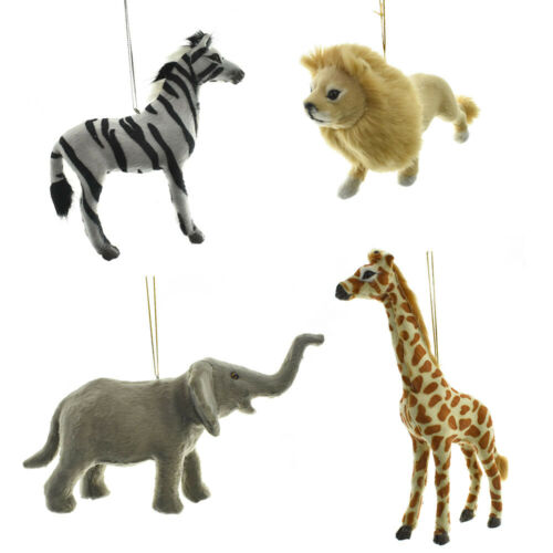 Furry Jungle Animal Ornaments, 4-Piece