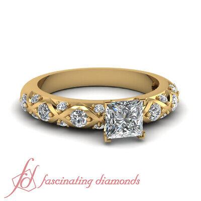 1 Carat Princess And Round Diamond Cross Band Engagement Rin