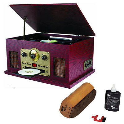 Sylvania 5-in-1 Turntable w/ CD/Cassette/Radio & Aux Function w/ Cleaning System