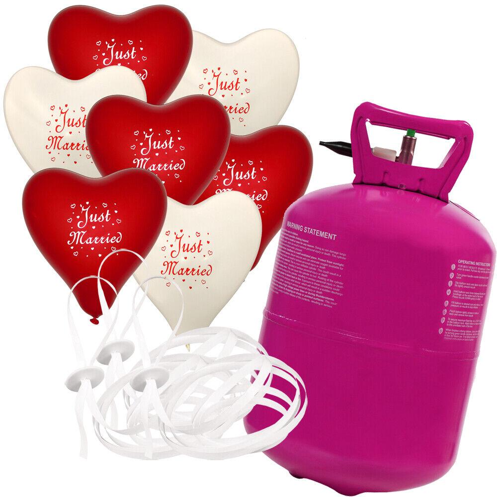 50 Herz Luftballons Just Married mit Helium Ballongas Hochzeit Komplettset