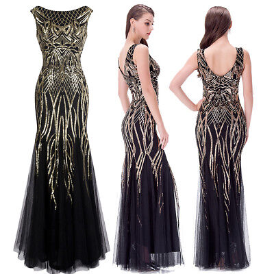 Angel-fashions Muster Paillette Bateau Überwurfhülse Flapper Abendkleid 377 ()