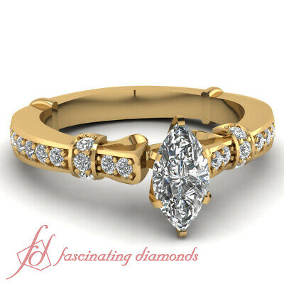 .80 Ct Marquise Cut Untreated Diamond Tilted Band Pave Set Engagement Ring GIA