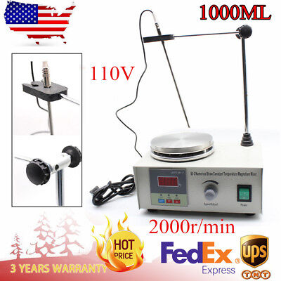 110v 85-2 Digital Lab Hot Plate Magnetic Stirrer Mixer Thermostatic Blender New