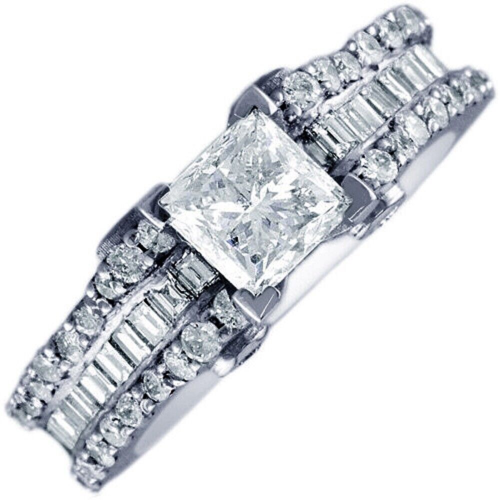 GIA Certified Diamond Engagement Ring 2.42 CTW Princess, Round & Baguette 18k
