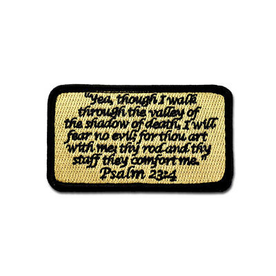 Tactical Combat Backpack Morale Patch Badge EMB Hook and Loop - Psalm 23:4 ACU