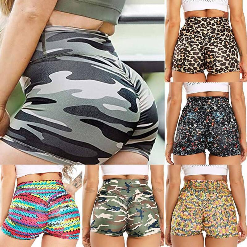 Women Yoga Pants Sports Shorts High Waist Butt Lift Ruched Joggers Trousers Gym