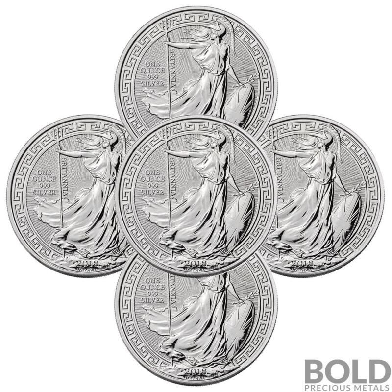 2018 .999 1 oz Silver Great Britain Britannia Oriental Borders Capsule - 5 Coins