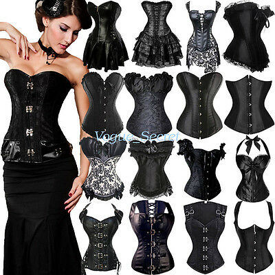 Women Corset Dress Steampunk Burlesque Costume Goth Corset Black Plus Size S-6X](Steampunk Burlesque Costumes)