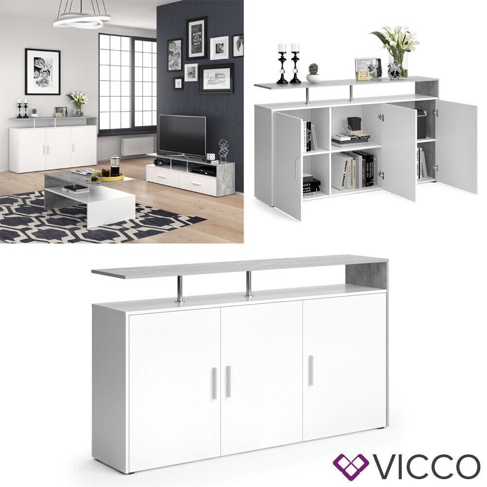VICCO Sideboard AMATO Kommode Schrank Beton Weiß Anrichte Fernsehschrank TV