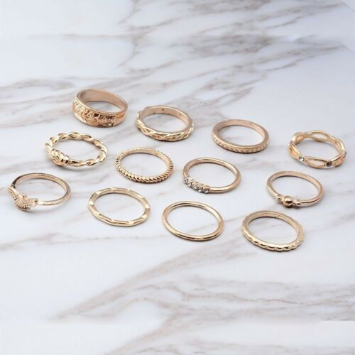 Party Gift Gold For Women Girl Punk Jewelry Midi Finger Ring Set Knuckle Rings
