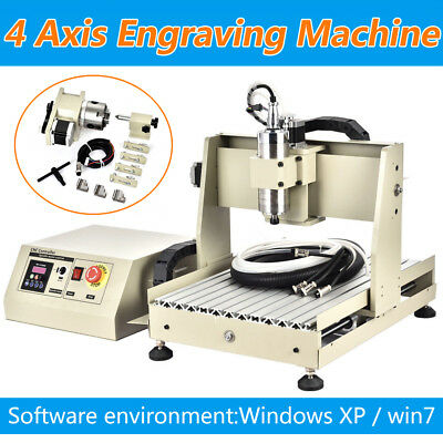 800w Vfd Cnc Router 3d Engraver Engraving Cutting 4 Axis 3040 Machine Milling