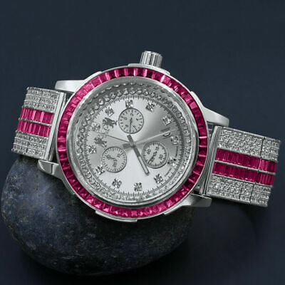 Pink Baguette White Gold Custom Solid Steel Solitaire Bezel Band Diamond Watch