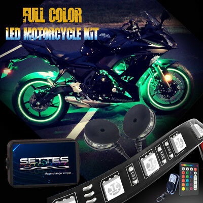 Motorcycle LED Neon Accent Glow Kit, 10 Strips,2 Wheel Pod , 2 Wireless Remotes